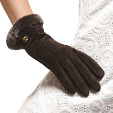 Woman Genuine Pigskin Suede Leather Fleece Lined Warm Gloves 2color On Sale #129