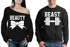 Couple Sweater Beast and Beauty Gym Valentine's Day Gift For him Off Shoulder