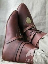 Medieval Costume , Brown Medieval Leather Shoes With Brass Accents