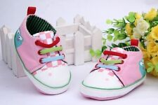 Toddle Infant pink Frog boy girl  Soft Sole baby shoe Sneaker  size0-12 months