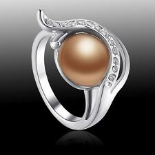 New Wedding Jewelry White Topaz & Surround Gold Pearl S80 Silver Ring size 7 8 9