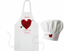 Personalised Rose Heart Adults Apron & Chef's Hat Valentines GIFT for Cook BBQ