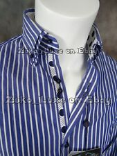 New With Tags JOHN LENNON Button Dress Shirt in Blue Stripes & Sheen