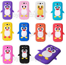 3D Cute Cartoon Penguin Soft Silicone Rubber Skin Cover Case For Samsung Phones