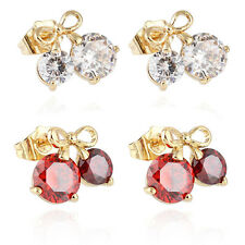 Fashion Womens Lovely White/Red Cherry Inlay Crystal Cute Girls Stud Earrings