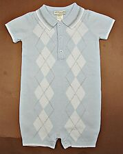 NWOT BABY BOY 100% COTTON KNIT SHORT SLEEVE COVERALLS  SWEATER(NB,6m,9m) HM211