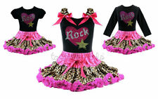Pettiskirt Tutu Outfit Rock Star Pink Leopard Birthday Girl Princess NWT 1-10Y
