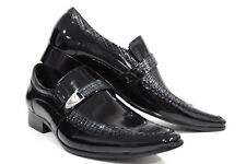 Mens Black Real Leather Shoes Patent Embossed Line Design Smart Look 7 8 9 10 11