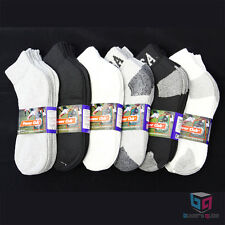 4-12 Pairs MEN'S Black/White Low-Cut Ankle Cotton Socks Sizes 9-11 10-13