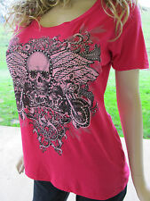Plus Size Skull Crystals Stones Wings Pink Tee Shirt Biker Chic Sexy 1X 2X 3X