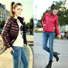 WOMENS LIGHT COMFY GAP PADDED PACKABLE ZIP HOODED QUILTED JACKET COAT TOP PUFFER