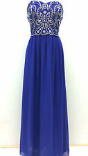 BNWT BLUE Maxi Dress Gem Sequin Embellished Bridesmaid Evening Party Prom Gown