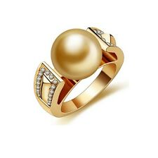 18K Gold Plated Simulated Diamond Pearl Ring