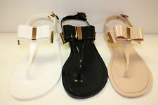 JELLY SANDAL WOMEN THONG FLAT GOLD PLATE BOW MONTECARLO BY VICTORIA ADAMES