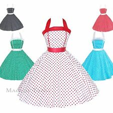 Maggie Tang 50s Pinup Retro VTG Polka Dots Housewife Rockabilly Swing Dress K505