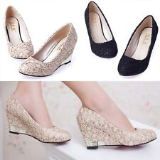New Women's Fashion Lace Mesh Wedges Shoes For spring autumn Round Head Heels
