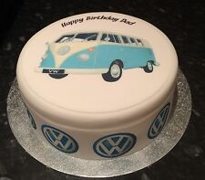 VW Camper Van Edible Icing, Frosting, Sugar Topper &/or Ribbon Birthday Cake