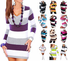 WOMENS Knitwear  V NECK STRIPED TUNIC CASUAL TOP SEXY KNITTED MINI DRESS JUMPER