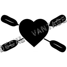 Heart Oars Vinyl Sticker Decal Kayak Love Canoe Paddles  - Choose Size & Color