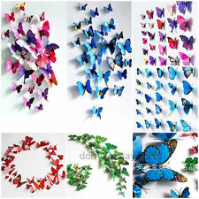 12pcs 3D Butterfly Wall Stickers Art Design Decal Room DIY Decor Home Decoration