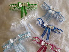 PERSONALISED WEDDING/ HEN GARTER CHOICE OF COLOURS COMPLETE WITH DIAMANTE HEART