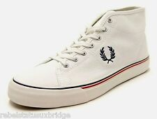 FRED PERRY Shoes Unisex Mid Canvas Trainer B5232 Kendrick Ecru UK 6 - 12