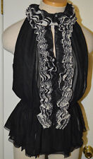 Women's Neiman Marcus Robert Rodriguez Black Ruffles & Lace Blouse Top S, M, XL