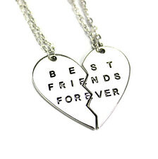 2 Fashion Gold Silver Best Friends Forever Broken Heart Pendant Chain Necklaces