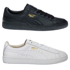 Puma Basket Classic Mens Trainers Shoes - White/White , Black/Black