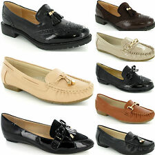 Amazing Ladies Womens Flat Loafer Brogue Dolly Ballerina Pump Work New Shoe Size