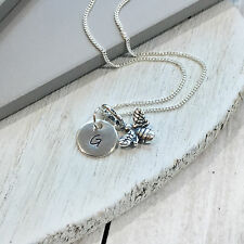 Sterling Silver Personalised Initial Letter Bee Charm Necklace Pendant Handmade
