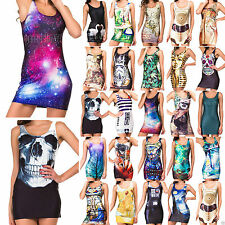 Sexy Women 3D Digital Print Mini Short Skirt Singlet Tank Dress Clubwear Bodycon