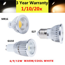Super Bright GU10 E27 MR16 Dimmable CREE LED COB Spot Light White Bulb 6W 9W 12W