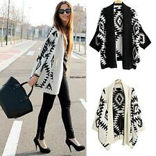 Black Ivory Aztec Tribal Southwestern Knit Cardigan Boho Sweater Long Sleeve