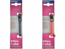 Ancol Elasticated Kitten Collar with Safety Buckle Bell Collar red blue