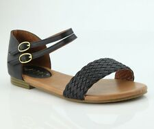 Women Braided Flat Sandal With Double Ankle strap,Cushion footbed/Free shipping