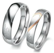 Hot Sale Heart Shape Matching Titanium Steel Lovers Promise Ring Couple Wedding