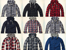 NWT Hollister Mens Hooded Shirts Blue Plaid Olive Green Size M, L, XL