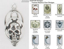 Skull & Claw fobs, various designs & leather strap options