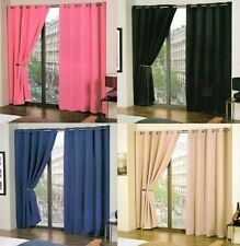 PLAIN READYMADE THERMAL BLACKOUT LIGHT REDUCING CURTAINS KIDS BOYS GIRLS BEDROOM
