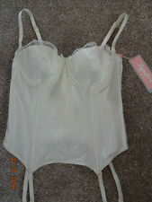 Lepel ivory lace basque padded soft cup multiway hook eye 32C 32D bridal BNWT