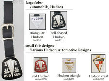 Hudson automobile fobs, various designs & leather strap options