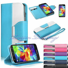 Luxury Flip PU Leather Wallet Cover Stand Case For Samsung Galaxy S5 SV i9600