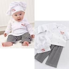 Baby Toddler Boy Girl Party Cook Chef Costume Top+Pants+Hat Cloth Gift Set 6-24M