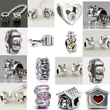 925 Pure Silver Safety chain Spacer charm bead for Charms bracelets necklace