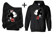 Mickey Minnie Kiss Matching Couple Off The Shoulder Sweater Sweatshirt Hoodie