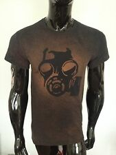 Gas Mask Acid Wash T Shirt Grunge Apocalyptic burnt Dystopian biohazard chemical