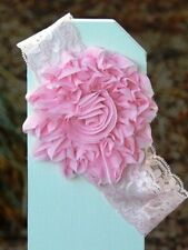 Shabby Chic Lace FLOWER HEADBAND baby toddler SO CUTE!