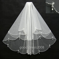 Stock New Wedding Bridal Veils Short Elbow Length Sequin Pearl Beaded With Comb