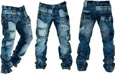 """Mens Kosmo Lupo Jeans Funky Detailed Panel Stitched Stonewashed  Jeans 30""""-38"""""""